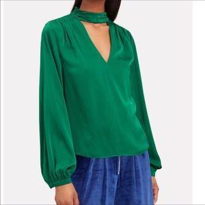 INTERMIX Emerald Elaine Nicole Silk Keyhole Blouse